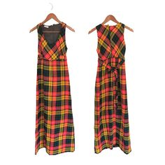 Vintage Plaid Maxi Dress Long Plaid Dress 70s Dress Small 70s Maxi Dress Empire Waist Dress Long Yellow Dress Hunter Green Dress Fall Dress Long Overalls, Hunter Green Dresses, Hippie Outfits, Rompers Women, Plaid Dress, Blazers For Women, Fall Dresses, Yellow Dress, Dress Long