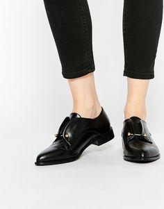 Image 1 ofLost Ink Black Bar Detail Flat Shoes