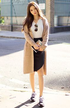 Sneakers + long black skirt + solid white top + long cardigan
