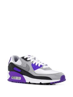 Shop white & purple Nike Air Max 90 sneakers with Express Delivery - Farfetch Nike Air Max, Air Max 90, Air Max Sneakers, Sneakers Nike, Purple Nikes, Nike Tennis, Air Jordan Shoes, Air Jordans, Women Wear