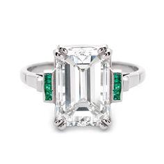 Art Deco 5.06 Carat Emerald Cut Diamond White Gold Ring