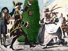 """Jack in the green - a character in traditional English May Day parades, and other May celebrations, who wears a large, foliage-covered, garland-like framework. Pictured: A chimney sweep's Jack in the Green dances with the """"Lord and Lady of the May"""" (probably both played by men) in 18th-century London (Wikipedia)."""
