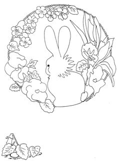 .bunny and flower embroidery