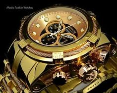New-Invicta-51MM-Reserve-Bolt-Zeus-High-Polished-Gold-Tone-Brown-MOP-Dial-Watch