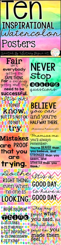 Looking for something inspirational to brighten up your classroom? These posters include ten of my favorite classroom quotes. Easy, inexpensive, and a fun way to decorate your classroom! Keywords: shiplap, farmhouse classroom, burlap, watercolor, teachers, chalk theme classroom , burlap classroom, rustic classroom, farmhouse decor, classroom inspiration, inspirational quotes, positive classroom, growth mindset, watercolor, art room decor, art teacher, bright colors