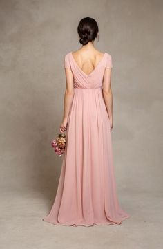 Beautiful Pink Short Sleeved Long Pink Chiffon Bridesmaid Dress_1