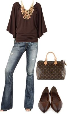 I like the style of the top and I like the jeans. Brown is not the best color on me.