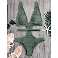 Cut Out Plunging Neck Bandage Swimwear featuring polyvore women's fashion clothing swimwear one-piece swimsuits