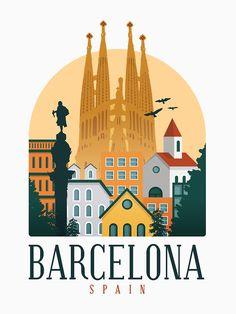 Barcelona Travel, Barcelona Spain, Wonderful Dream, Travel Illustration, Canvas Prints, Art Prints, Vintage Travel Posters, Lovers Art, Andalucia Spain