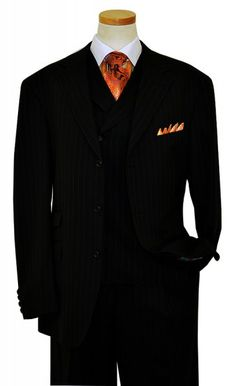 Extrema Black With Grey Pinstripes 140's Wool Vested Suit UE90150 / UE90153