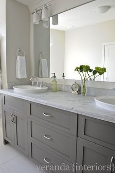 Love these Gray Bathroom Cabinets! Would look great in my master bathroom if I got rid of the sink, wallpaper, fixtures, etc.!