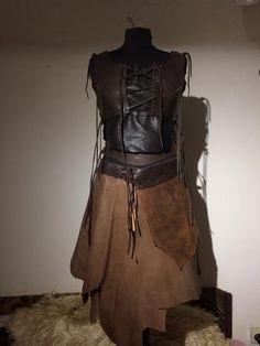 Leather Skirt long Brown Woman Lagertha Medieval Larp von Elbengard