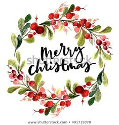 stock-photo-christmas-card-watercolor-painting-with-hand-lettering-berry-wreath-… – Christmas DIY Holiday Cards Painted Christmas Cards, Watercolor Christmas Cards, Christmas Photo Cards, Watercolor Cards, Xmas Cards, Christmas Art, Christmas Photos, Holiday Cards, Watercolor Paintings