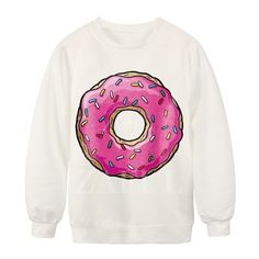 Big Donut Print White Sweatshirt (535 MXN) ❤ liked on Polyvore featuring tops, hoodies, sweatshirts, shirts, sweaters, long sleeves, white shirt, print sweatshirt, white long sleeve shirt and long sleeve shirts