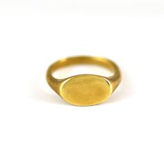 Simple, Clean, Minimalist.   Brass Signet Ring Cast from Original Wax Carving Using Recycled Metal.   Available for Custom Engraving.  Made by Hand and Made to Order in Brooklyn, NY.  Please Allow up to 1-3  Weeks to Ship.