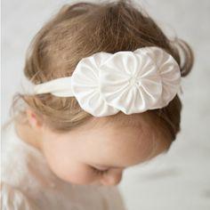 Ivory yoyo headband baby christening headband by CheekyMooseCo, $12.00