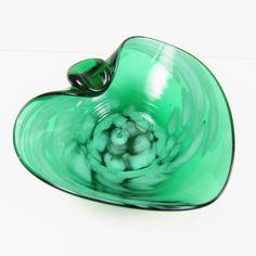 Vintage Art Glass Ashtray Hand Blown Green by AmbassadorGrooviness