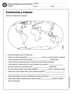 Continentes y océanos Spanish Teaching Resources, English Activities, Spanish Lessons, Geography For Kids, Social Studies Worksheets, History Teachers, Spanish Classroom, Home Schooling, Earth Science