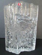 Iittala Finland Tapio Wirkkala PINUS Signed Mid-Century Ice Crystal Glass Vase