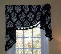 Valance Window Scarf Ideas With Tassels , Pretty Window Scarf Ideas In Home Design and Decor Category Bathroom Window Treatments, Valance Window Treatments, Window Coverings, Bedroom Valances, Curtain Valances, Scarf Valance, Pelmet Designs, Window Scarf, Drapery Styles