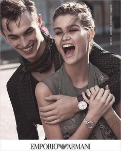 LOOK: Alessio Pozzi & Kit Butler for Emporio Armani Campaign - Site Title Emporio Armani, Giorgio Armani, Kit Butler, Watches Photography, Candid Photography, Model Face, Chanel, Interesting Faces, Couple Shoot