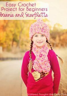 Crocheted Scarflette and Beanie: a super easy crochet project for beginners.
