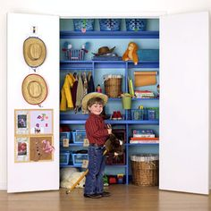 Great inexpensive storage ideas for kids closet/toy storage.