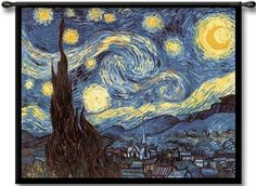 """$129.99 Van Gogh - Starry Night Abstract Classic Tapestry Wall Hanging by Vincent Van Gogh 53"""" x 40""""Blue and Gold European Impressionist art masterpiece classic. http://www.delectably-yours.com/Classics-Wall-Hangings-C152.aspx"""