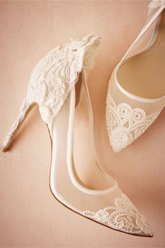 white lace bridal heels | Victoria Pumps from BHLDN