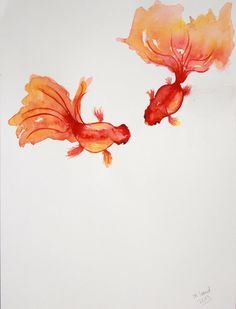 Waterolor and ink painting of two goldfish. by MarianneSandArt, kr250.00