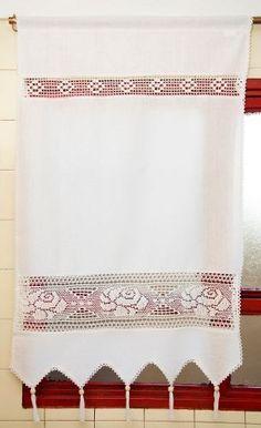Visillos En Tela Rústica Y Crochette 0.70 X 1.10 Largo