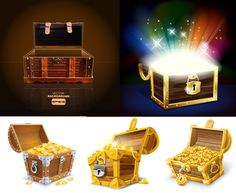 treasure box design elements vector