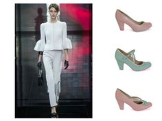 White #tailleure from Armani Privè 2014. Ypu can comabine it with the #Cristofoli #shoes #spring2015. From the top: Emily pink and aqua, July aqua, July pink and aqua.