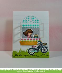 Lawn Fawn - Wonderful Window, Bicycle Built for You, Simple Grassy Hillside, Gingham Backdrops, Valentine Borders _ card by Lizzy for Lawn Fawn Design Team