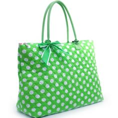 Large Quilted White Polka Dotted Tote with Ribbon Accents