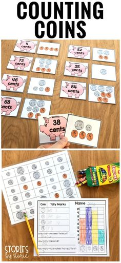 Students can practice counting coin combinations up to $1.00 and have fun with this matching game. There are also two graphing activities included where students must count, tally, and graph the coins on the page.