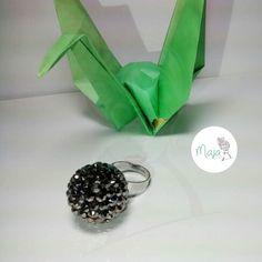 Anillo esfera negra brillante $5000