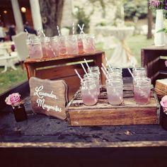 Pink cocktails in mason jars