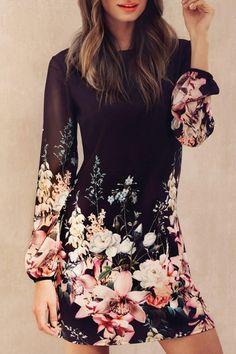 Printed Chiffon Long Sleeves Round Collar Dress BLACK: Chiffon Dresses   ZAFUL