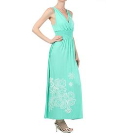 Another great find on #zulily! Mint Embroidered Shirred Maxi Dress #zulilyfinds