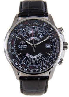 Orient Multi-Year Calendar FEU0700BBH Black Dial Black Leather Band Men's Watch