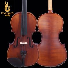 FineLegend 4/4 Full Size Ebony Parts Handmade Professional Violin with Clear Stem and Bow, Case, Rosin LCV1124