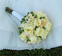 White roses and blush pink hydrangea.
