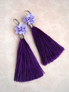 Womens Bp. Floral Tassel Earrings with lilac flowers of polymer clay. Violet smooth and shiny tassels add playful movement to these trendy drop earrings topped with an bunch of flowers. Modern long ultra violet tassel and purple lilac flowers - the most gentle earrings! Dont wait for