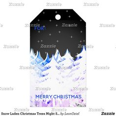Shop Snow Laden Christmas Trees Night Sky Gift Tags created by LeonOziel. Christmas Trees, Christmas Holidays, Christmas Gifts, Stationery Craft, Gel Ink Pens, Custom Ribbon, Old Newspaper, Personalized Gift Tags, Art Store