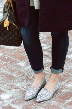 Silver glitter loafers | Sole Society Cammila