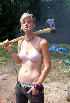Canadian lady going for firewood