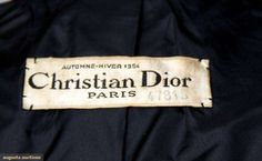 Augusta Auctions: 1954 Couture Christian Dior label. Couture labels not dated before 1951.