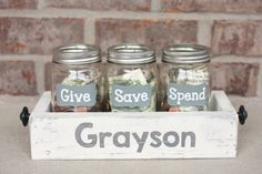 Children's Personalized Painted/Distressed Give/Save/Spend Mason Jar Bank