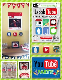 YouTube Theme Party Set Youtubers Birthday by LemonSquaredLemons Youtube Theme, Youtube Party, 10th Birthday Parties, Birthday Party Themes, Birthday Ideas, Birthday Stuff, Happy Birthday, Youtube Birthday, Ideas Habitaciones